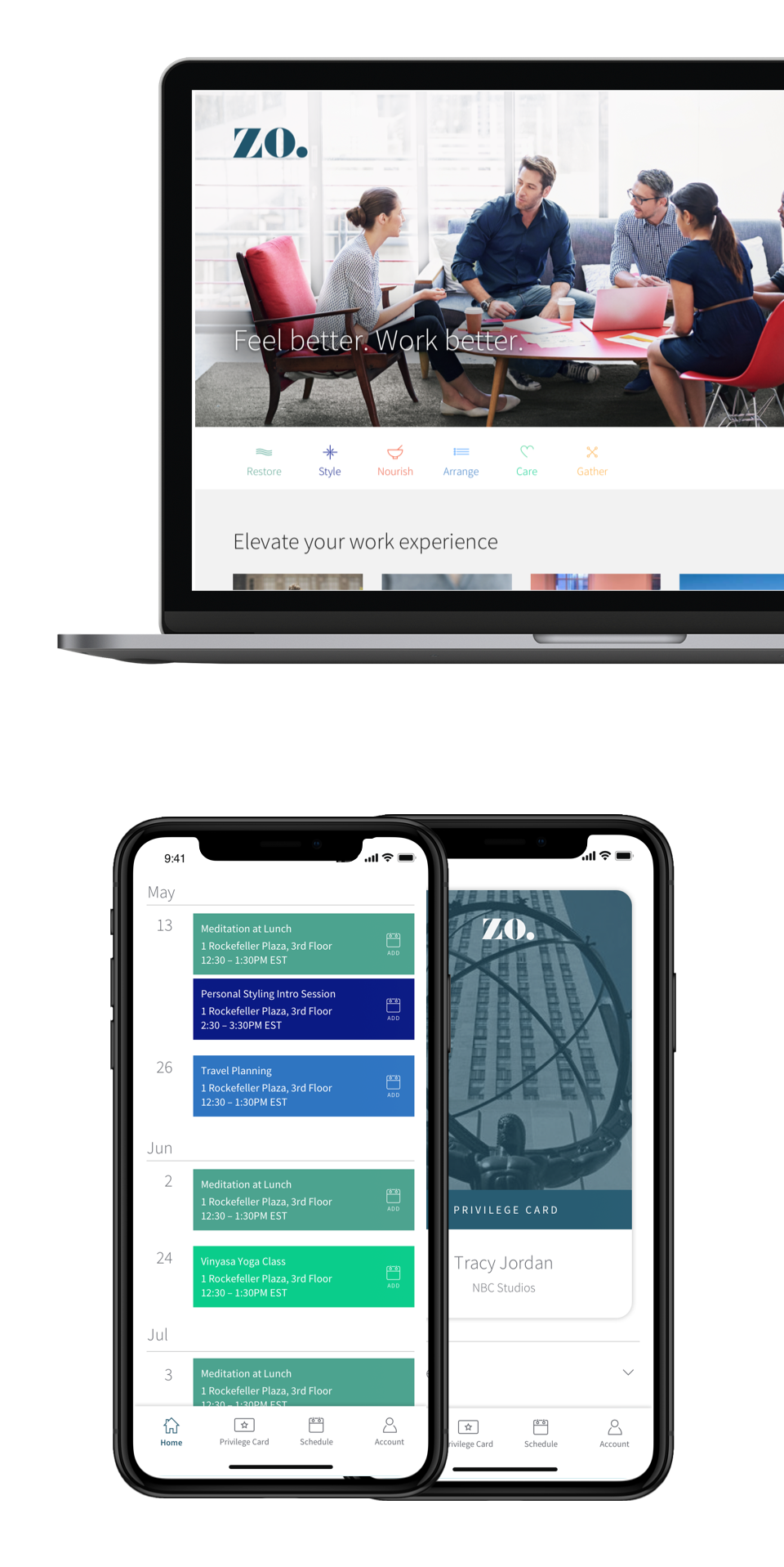 The Zo app on desktop and mobile devices