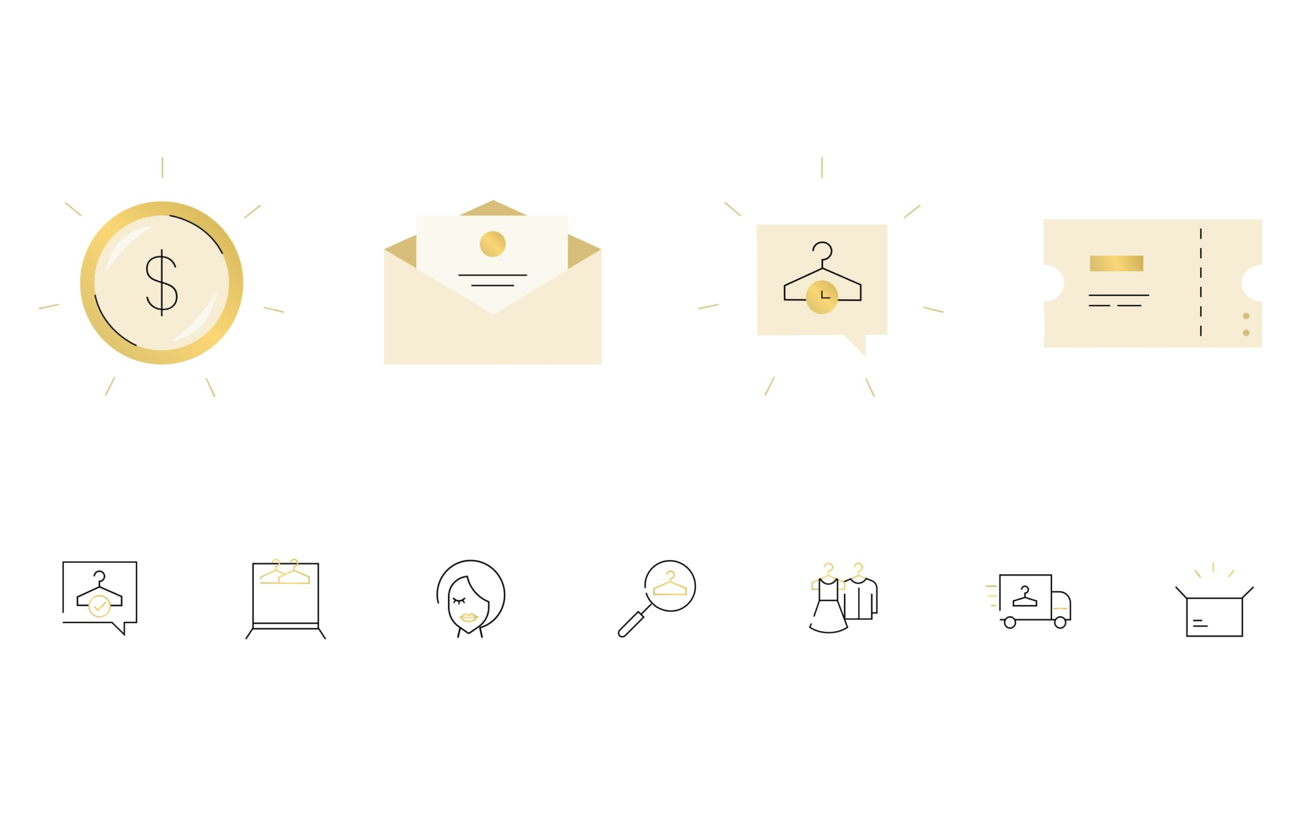 Tulerie icons and illustrations examples